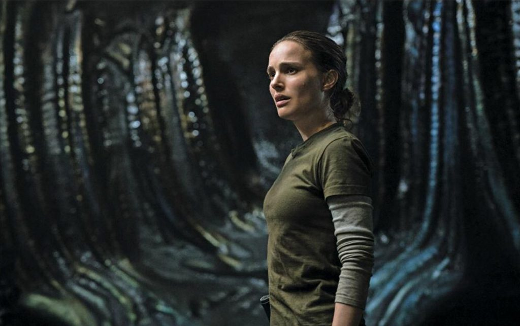 Natalie Portman stars in Annihilation (2018), produced by Netflix and Paramount Pictures.