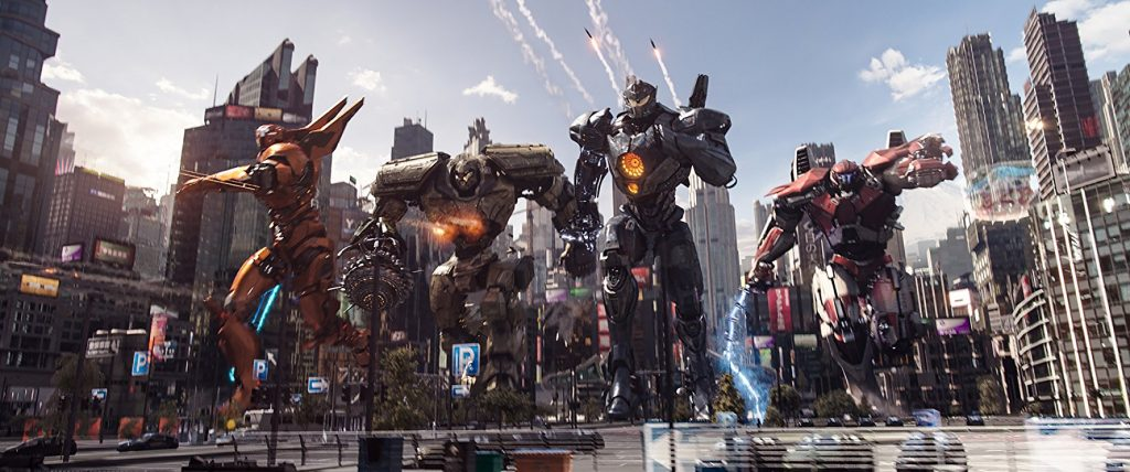 The Jaegers charge into battle in the city.