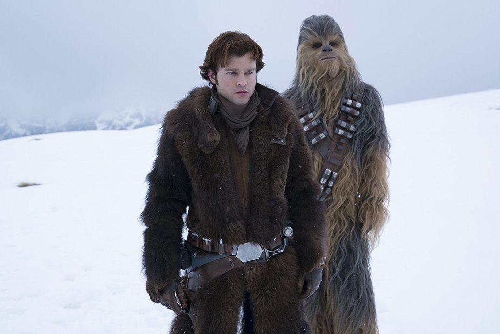Alden Ehrenreich as Solo, and Chewie.