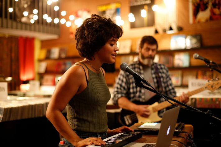 Kiersey Clemons and Nick Offerman in Hearts Beat Loud.