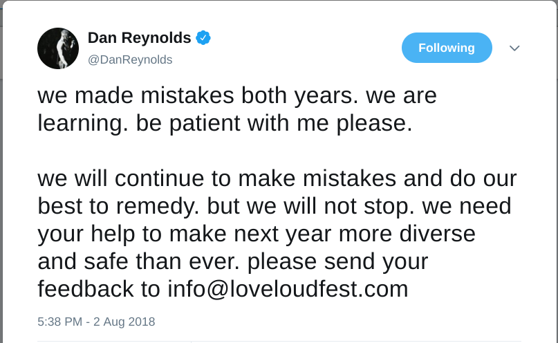 Dan reynolds loveloud tweet