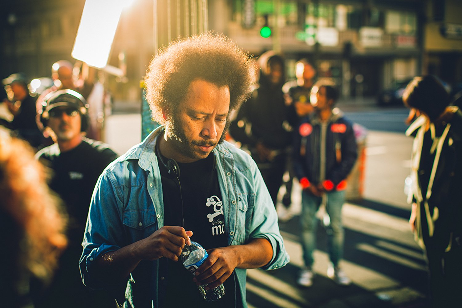 Boots Riley on set of Sorry to Bother You.