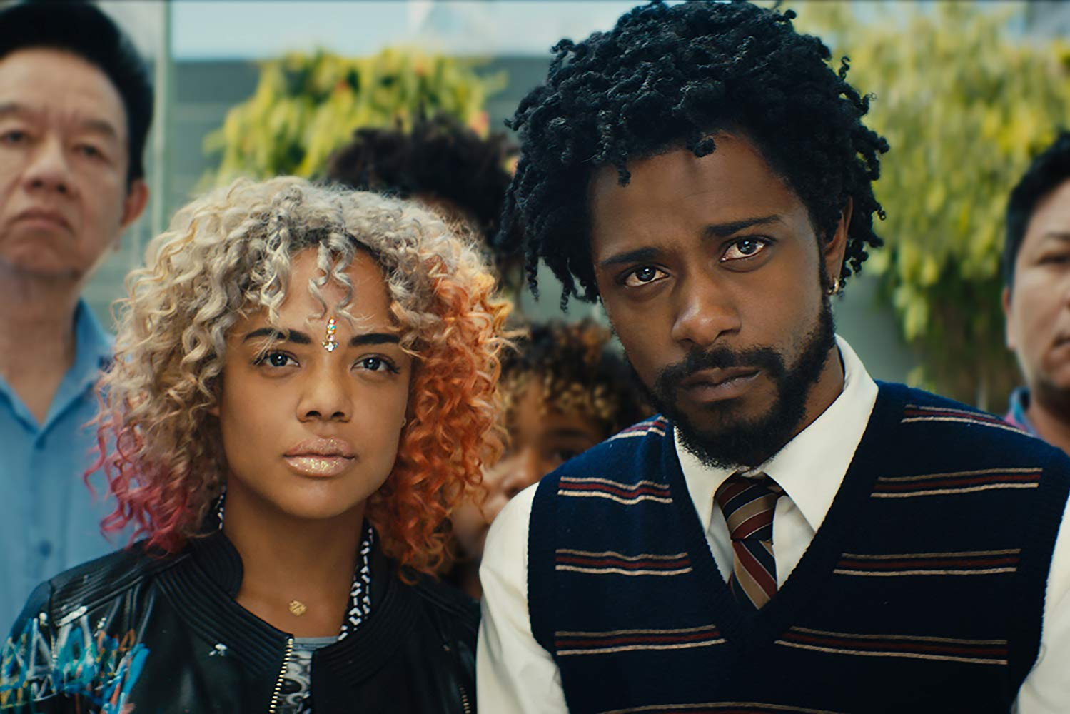 Tessa Thompson and Lakeith Stanfield in Sorry to Bother You