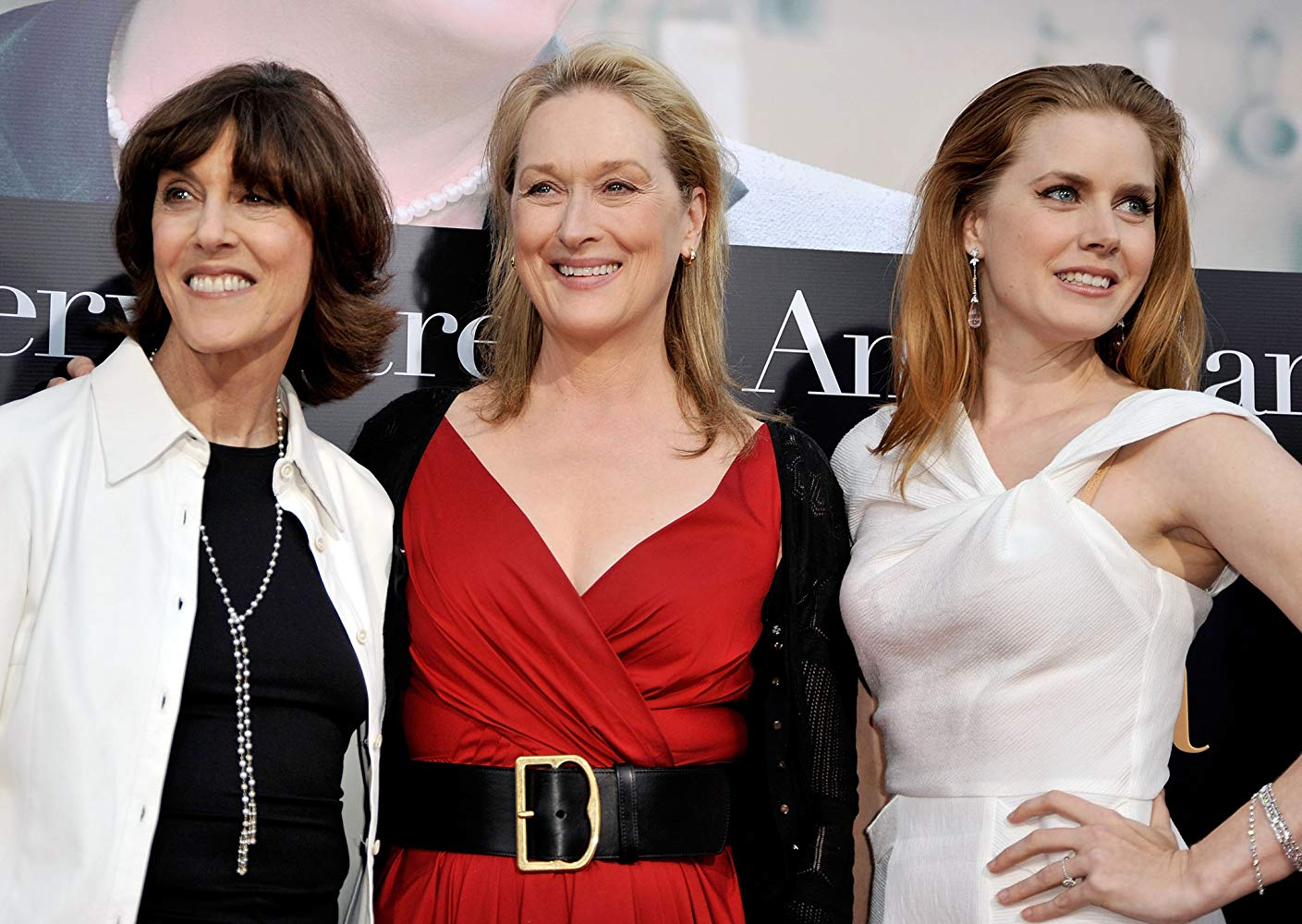 Nora Ephron, Meryl Streep, and Amy Adams at a press event for Julie & Julia (2009).