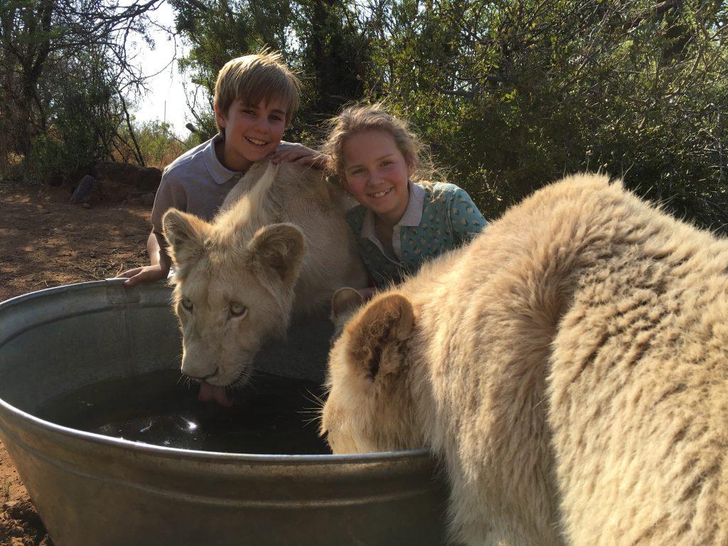 Daniah De Villiers and Ryan Mac Lennan on set of Mia and the White Lion.